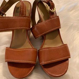 Shoes - Brown wedges size 7 super comfy EUC